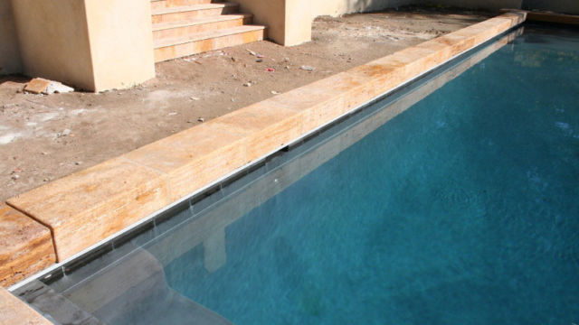 Custom Travertine Coping